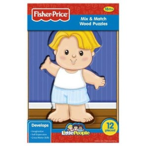 Fisher Price - Rompecabeza de Madera de 12 Piezas - Eddie - Little People