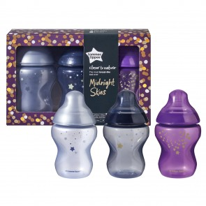 Tommee Tippee Biberón Closer to Nature 9oz (260ml) Midnight Skies x 3 unidades