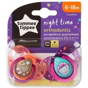 Chupones Night Time 6-18M Rosado x 2 unidades - Tommee Tippee