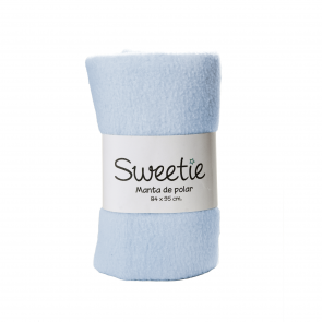 Sweetie - Manta polar color entero remallada celeste