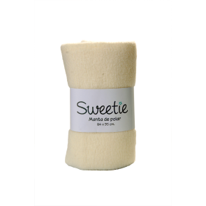 Sweetie - Manta polar color entero remallada crema