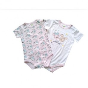 Disney - Pack body niña pack x 2 rosado/blanco para 3 meses