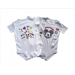Disney - Pack body niño pack x 2 blanco/plomo para  9 meses