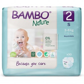Pañal talla 2 (S) pack por 30 unid.- BAMBO NATURE