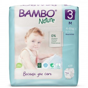 Pañal talla 3 (M) pack por 28 unid.- BAMBO NATURE