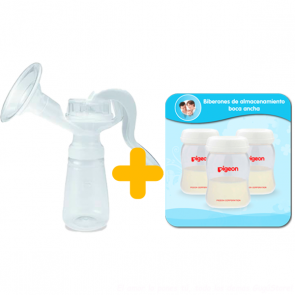 Pigeon - Extractor de Leche Manual + almacenadores x 3 de 160 ml