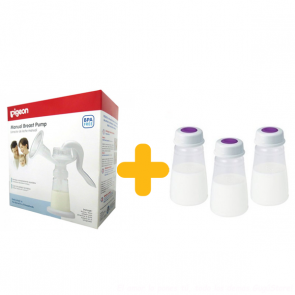 Pigeon - Extractor de Leche Manual + almacenadores x 3 de 150 ml