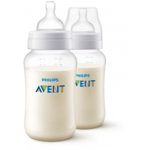 Philips Avent - Pack de 2 Biberón para Bebés Anticolic de 11oz / 330ml