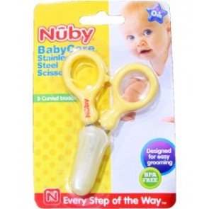 Nuby- Baby care Tijeras de acero inoxidable (amarillo)