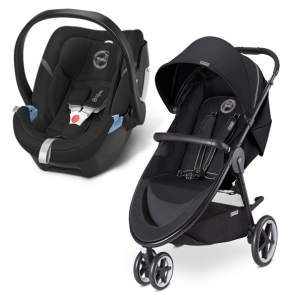 Cybex - Sistema de Viaje Agis M-3 Air Moon Dust con SA Aton Happy Black