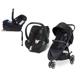 Cybex - Sistema de Viaje Agis M-3 Air Moon Dust Con Base 2 Fix Con SA Happy Black