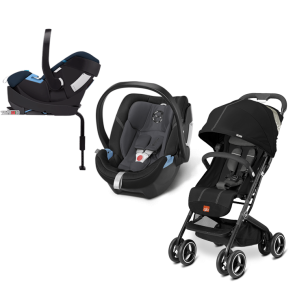 GB Cybex - Sistema de Viaje Qbit+ Monument Black Con Base 2 fix Con SA Phantom Grey