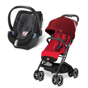 GB y Cybex - Sistema de Viaje Qbit+ Dragonfire Red con SA Aton 4 Phantom Grey