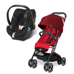 Gb y Cybex - Sistema de Viaje Qbit+ Dragonfire Red con SA Aton 4 Happy Black