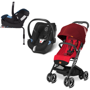 GB Cybex - Sistema de Viaje Qbit+ Dragonfire Red Ccon base 2 fix con SA Aton Phantom Grey