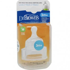 Dr. Browns - Tetina nivel 2 pack biberón boca ancha